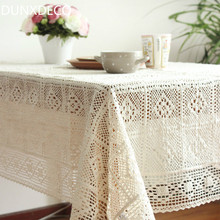 DUNXDECO Tablecloth Cotton Crochet Table Cover Fabric Wedding Decoration Romantic Beige Warm Home Decoration