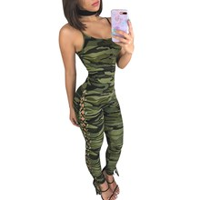 Women Spaghetti Strap Sleeveless Casual Jumpsuit Sexy Bandage Hollow Out Camouflage Rompers Summer Bodycon Overalls