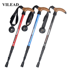 VILEAD Stable 50-110cm Cork Walking Sticks 7075 Aluminum Nordic Portable Ultra-light Outdoor Travel Hiking Trekking Poles Cane