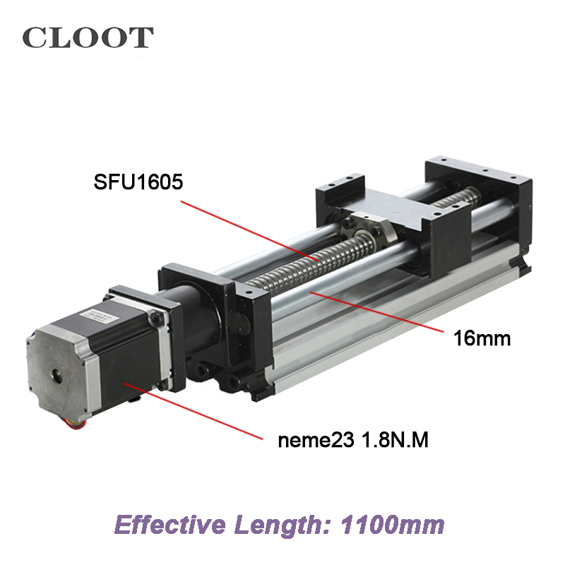 1100mm Stroke Length SFU1605 Ball Screw Mould CNC Linear Rail Guide + Nema23 Stepper Motor For Laser Cutting skylark светодиодная лампа skylark gu5 3 7w 2700k рефлекторная зеркальная d010