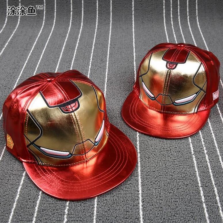 Prix pour Enfants Iron Man Baseball Caps enfant Hip hop en cuir pleine rue de danse Garçons Filles snapback Parent-enfant casquettes