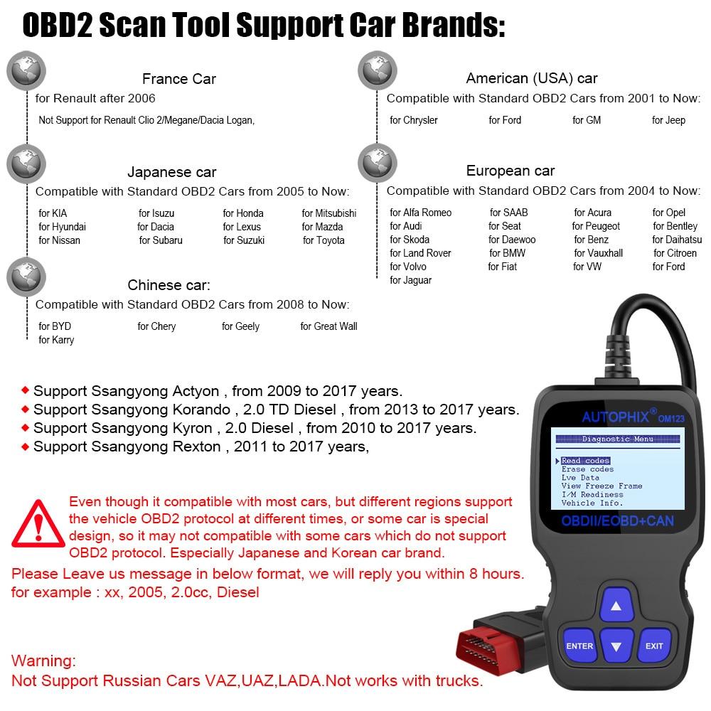 Autophix OM123 OBD2 Scanner – Diagnostic Reader Tool | Auto