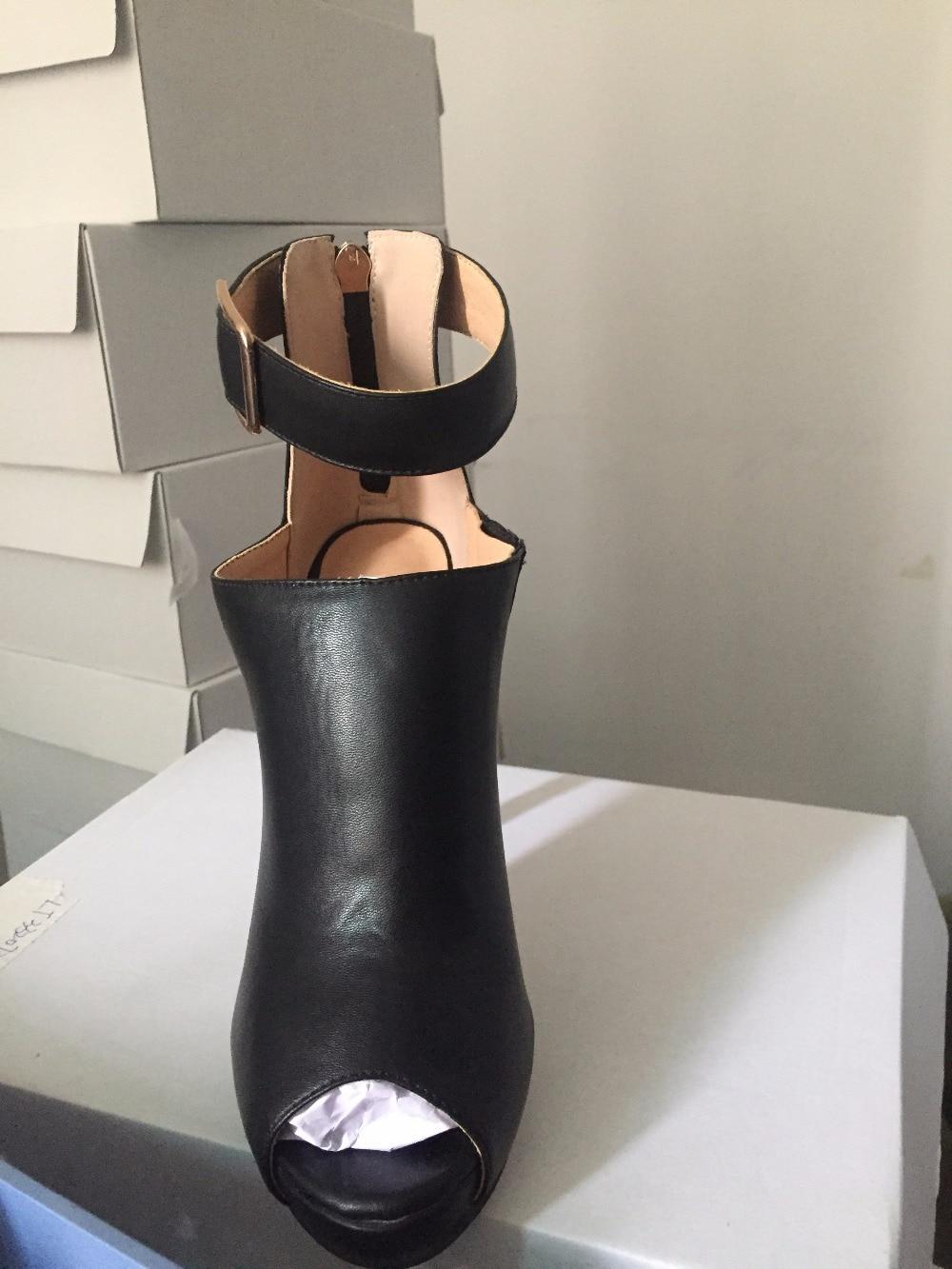 Toe Peep Alto Botines 2017 Calidad Fiesta Hebilla De outs Cut Zapatos Alta Botas Mujer Tacón Mujeres Correa Vestidos w08PA