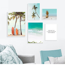 Palm Tree Poster Waves Paintings Pineapple Canvas Art Sea Beach Painting Nordic Quotes Posters And prints