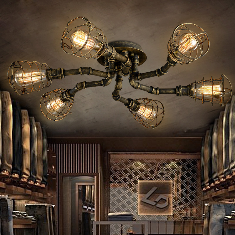 American retro style industrial loft ceiling light creative personality iron waterpipes Restaurant bar living room ceiling lamp nordic american country retro industrial loft restaurant bar creative personality living room small metal frame lamp chandelier
