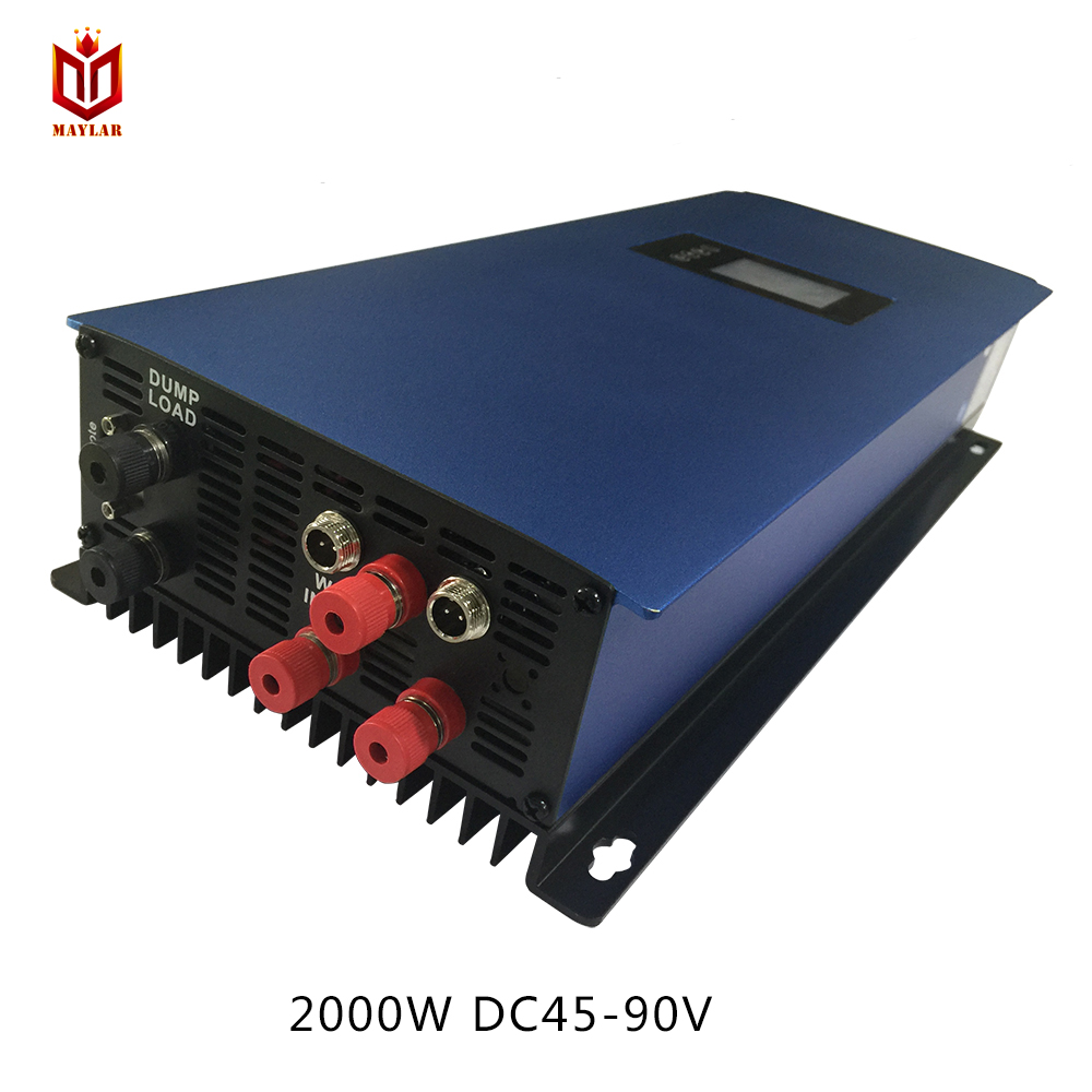 MAYLAR 2000W Wind Grid Tie Inverter Pure Sine Wave For 3 Phase 48V (AC Wind Turbine) ,90-130VAC , with Dump Load Resistor mppt 2000w 2kw wind power grid tie inverter with dump load controller resistor for 3 phase 48v 60v 72v wind turbine generator