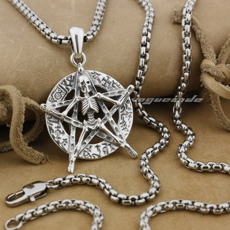 925 Sterling Silver Round Star Skull Mens Biker Pendant 9J006(Necklace 24inch) solid 925 sterling silver skull mens biker pendant 8c011 with matching stainless steel necklace