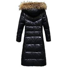الشتاء النساء Thicked أسفل معطف حجم كبير سيدة رمادي بطة أسفل سترة حجم كبير الفراء مقنع معاطف صامد للريح جاكيتات ملابس خارجية WZ626