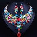 Lujo Nupcial Conjuntos de Joyas de oro Collar Llamativo y Pendientes de gota para Las Novias de La Boda Joyería Africana fija