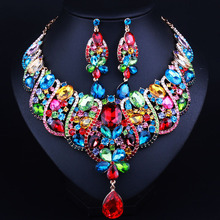 Luxury Bridal Jewelry Sets Gold plated Statement Necklace and drop Earrings for Brides Wedding African Jewelry