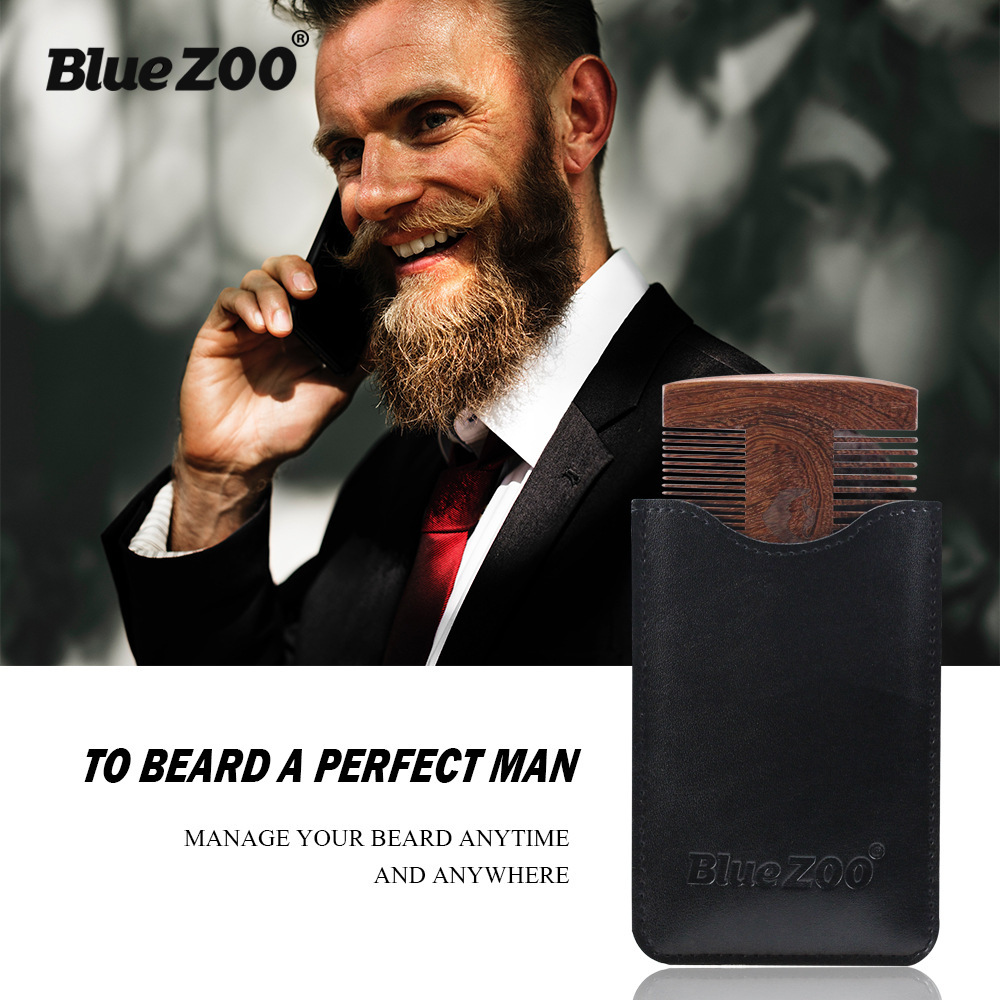 New Double-side Beard Shaping Styling Template Sandalwood Beard Comb Men Shaving Tools Comb for Hair Beard Trim Template Combs green sandalwood combed wooden head neck mammary gland meridian lymphatic massage comb wide teeth comb