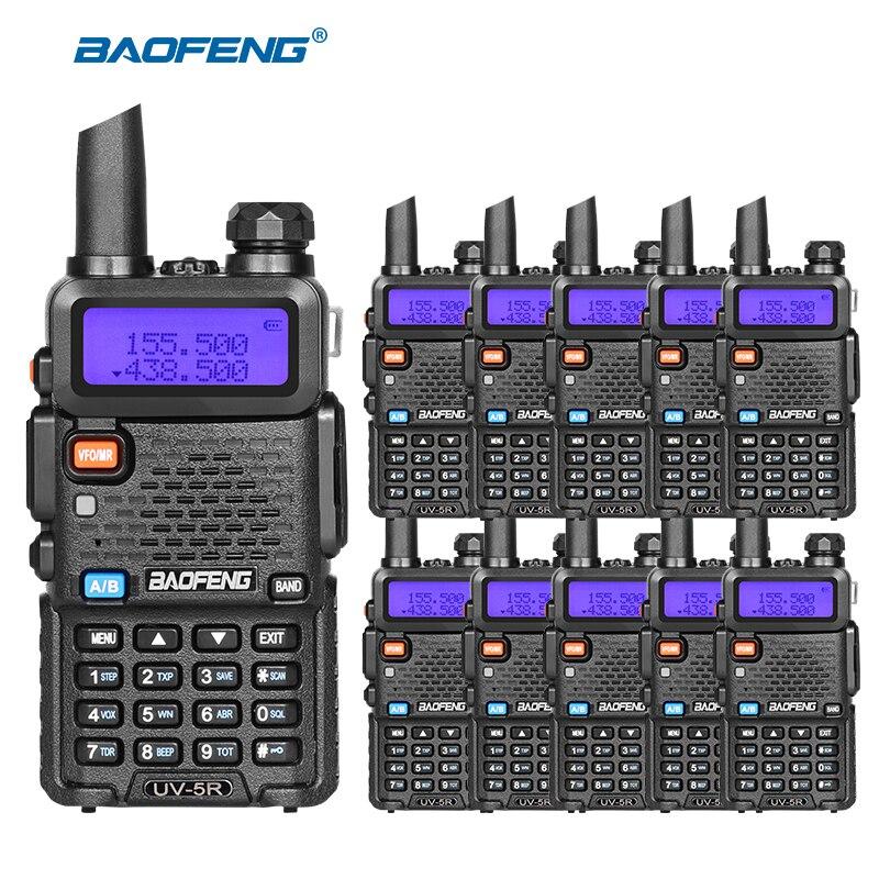 imágenes para 10 unids/lote BAOFENG UV-5R UHF VHF Walkie Talkie Para La Caza doble Banda de Radio de Jamón CB Comunicador pofung uv5r Radio Amateur estación