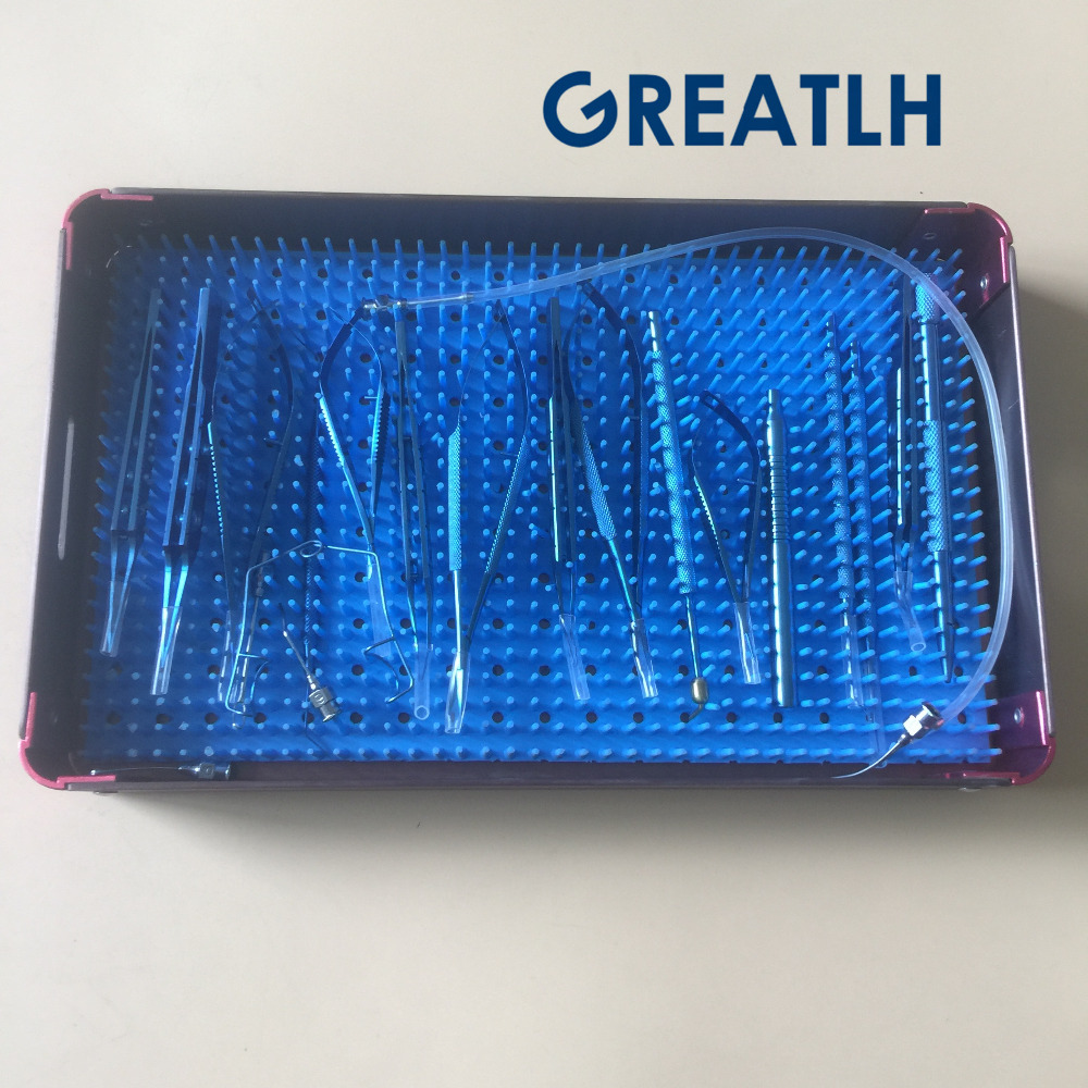 Sterilization tray box cas for Ophthalmic Dental Surgical Instruments 21PCS Titanium Cataract Set Eye ToolsSterilization tray box cas for Ophthalmic Dental Surgical Instruments 21PCS Titanium Cataract Set Eye Tools