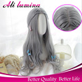 Cheap Wigs For Women U Part Synthetic Curly Wig Heat Resistant Gray Synthetic Lace Front Wig Long Grey Wig Lolita Cosplay