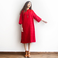 Chinese Style Solid Embroidery Women Mid Long Dress Loose Plus Size Brand Qipao Dress Red Black