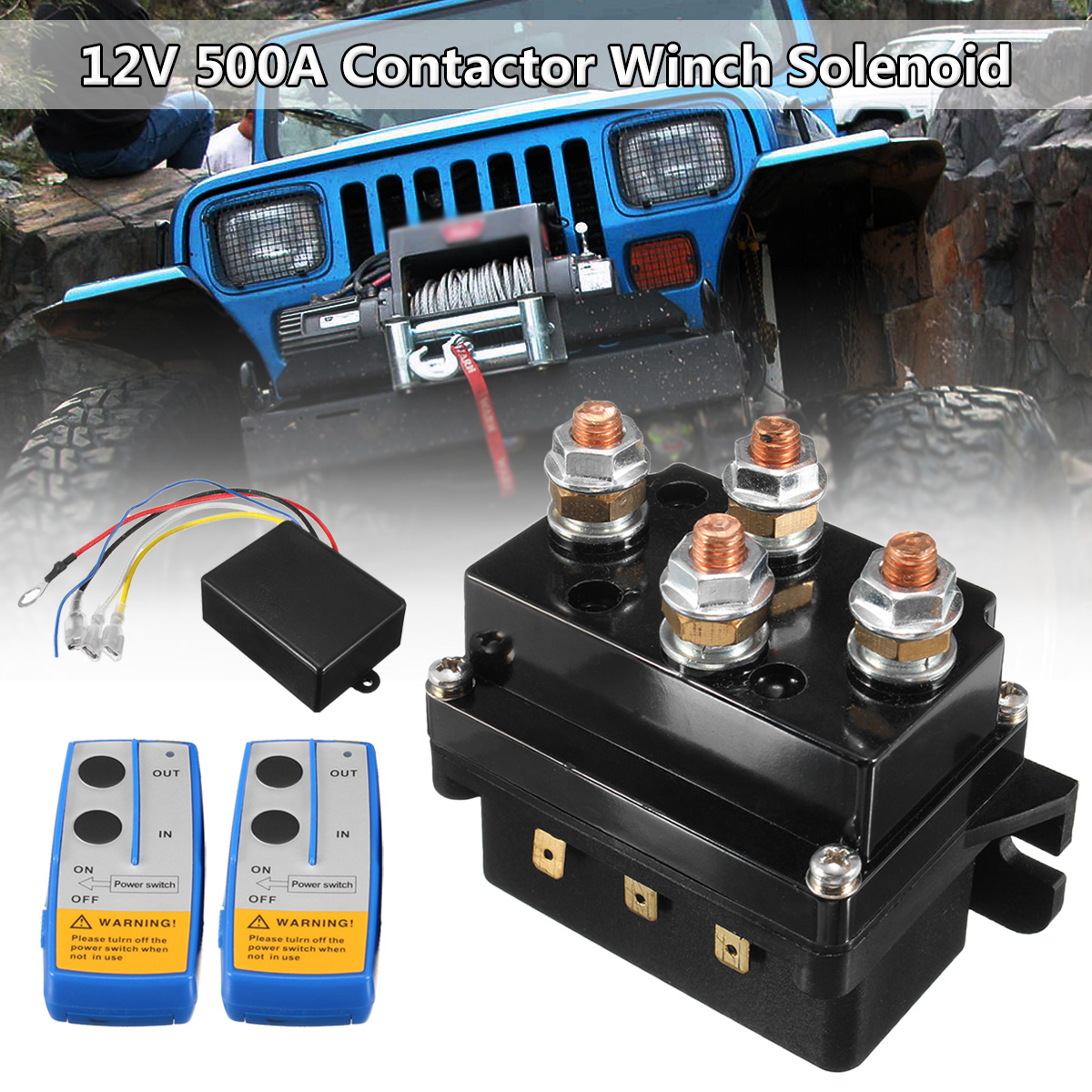12V 500Amp HD Contactor Winch Control Solenoid Twin Wireless Remote Recovery 4x4