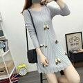 2017 Spring New Fashion Women Warm Knit Dress OL Style Bowknot O Neck Long Sleeve Loose Knited Mini Sweater Dress