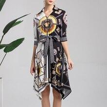 XF P 2019 Spring Fashion Designer Runway Dress Women Lapel Medium Sleeve + Lace Irregular dress Contrast Print Casual