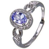 Hotsale silver tanzanite ring 4 mm * 6 mm real tanzanite ring for engagement solid 925 silver tanzanite ring romantic gift
