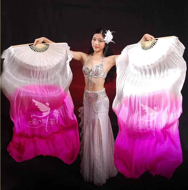 Real Silk Long Fan Veil For Belly Dance Thicker Oriental ...
