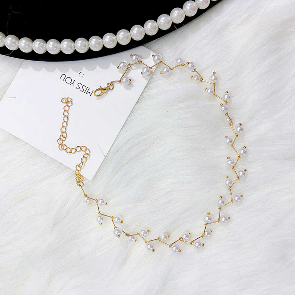 Korean jewelry necklaces new clavicle necklace golden silver handmade pearl beaded necklace beautiful women chocker