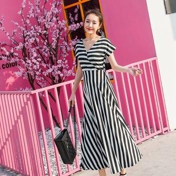 7b53b6ae2568bb3 2019 летнее новое платье для беременных женщин, Полосатое платье с  крестиком, свободный для беременных