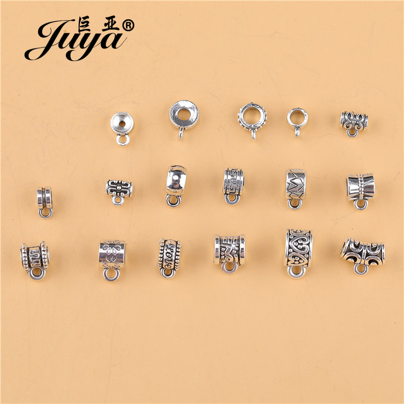 30pcs/lot Ancient Silver Charm Bail Beads Pendant Clip Clasp Connectors For Women Necklace Bracelet DIY Jewelry Making Findings
