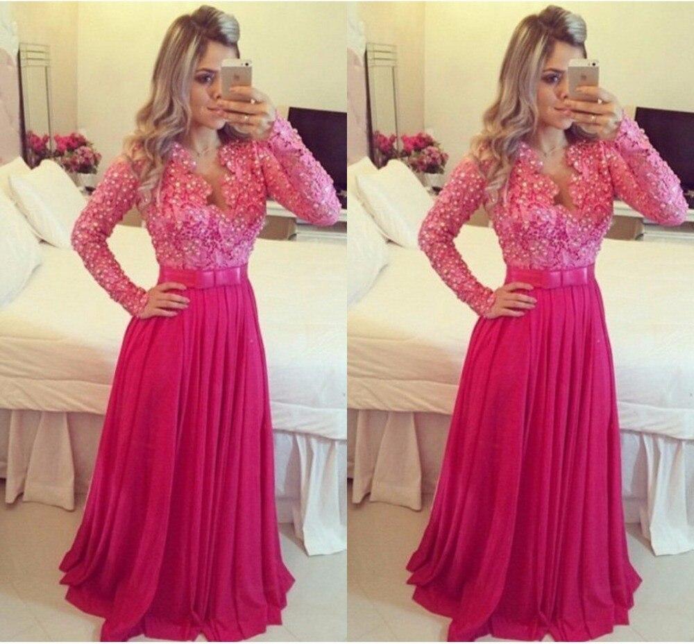 Women Plus Size Prom Dress Long Sleeve Lace Prom Dresses 2015 ...