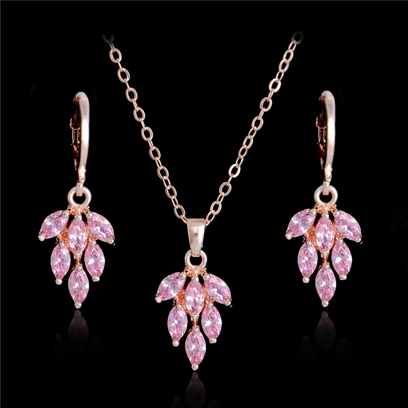 df1b7dd2c SHUANGR New Wedding Jewellery Set Gold Color Pink Cubic Zirconia Charming  Leaf Necklace Earrings For Women Bridal Jewelry Sets