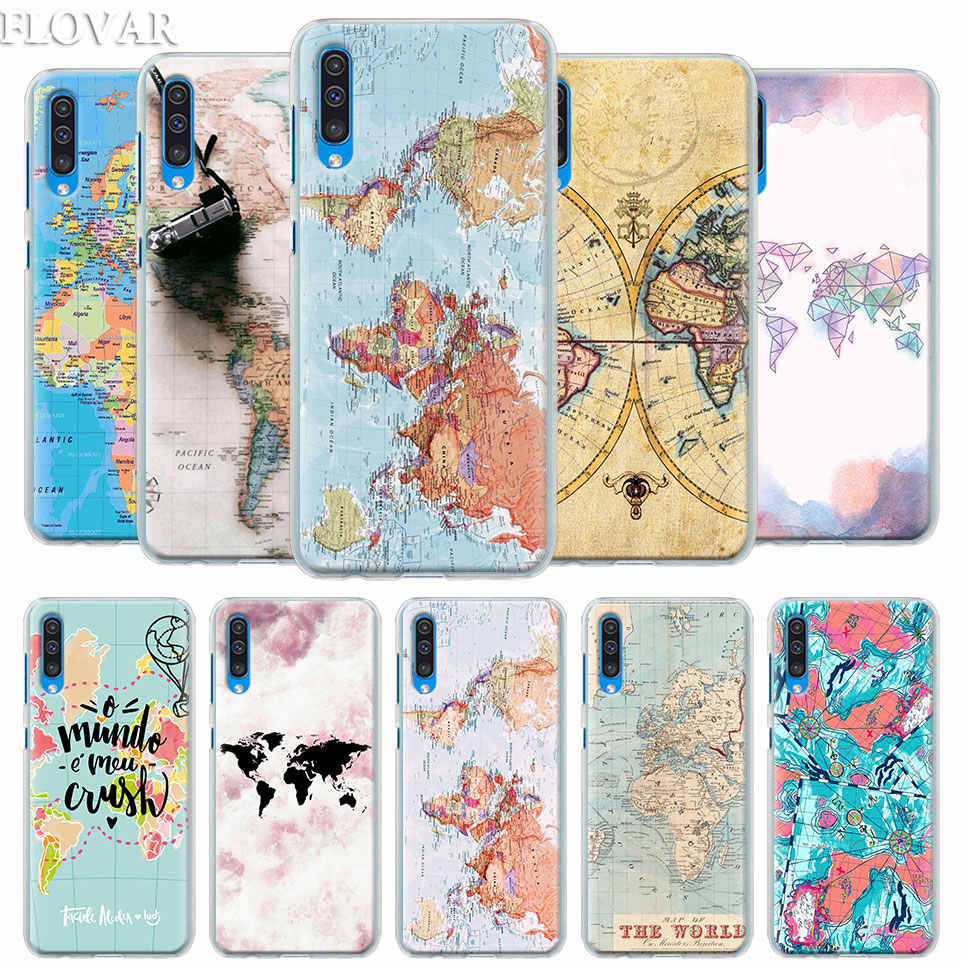 World map Case Cover for Samsung Galaxy A30 A40 A50 A70 A6 A8 Plus A7 A9 2018 M30 Phone Case Coque