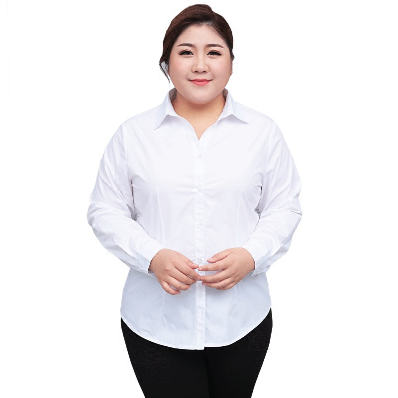 Formal White Blouse Women Plus Size Long Sleeve OL Lady Work Shirts Blue Office Blouses Ladies Extra Large 5XL 6XL 10XL 130KG