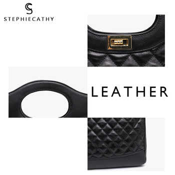 SC Brand New Real Leather Handbags Women Large Bucket Luxury Black Plaid Top-handle Hobos Soft Shoulder Bags Crossbody Bags