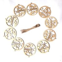 10pcs Wooden Plaque Mummy With Flowers Round Shape Lasercut DIY Craft Mother's Day Gift Hanging Ornament Decor Embellishments