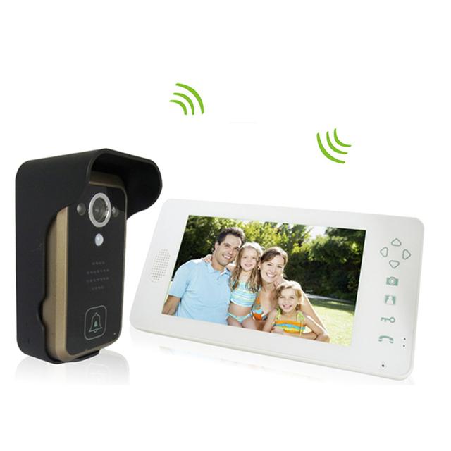 hot  2.4G wireless video doorbell wireless door video intercom phone door bell intercom Camera 7 inch monitor  black white color
