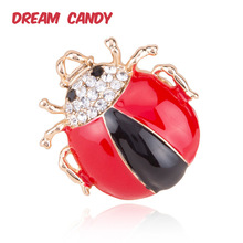 Dream Candy Cute Rhinestone Beetle Brooches for Women Cartoon Enamel Pins Insect Brooch Sweater Accessories Lady Jewelry 2019