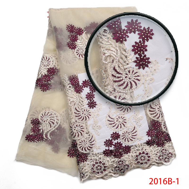 High Quality Nigerian Lace Fabrics Embroidered Tulle Lace Fabric Newest design African French Stones Tull Lace