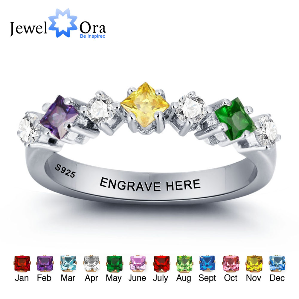 Personalized Wedding Jewelry Colorful Birthstone Engrave Names Ring 925 Sterling Silver Rings For Women (JewelOra RI101969) цена