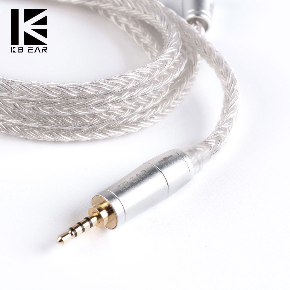 KB EAR 16 Core Silver Cable With Metal 2pin/MMCX/QDC Connector Use For TRN V90 BA5 KZ ZSX ZS10 PRO AS10 BLON BL-03 CCA C12 QDC