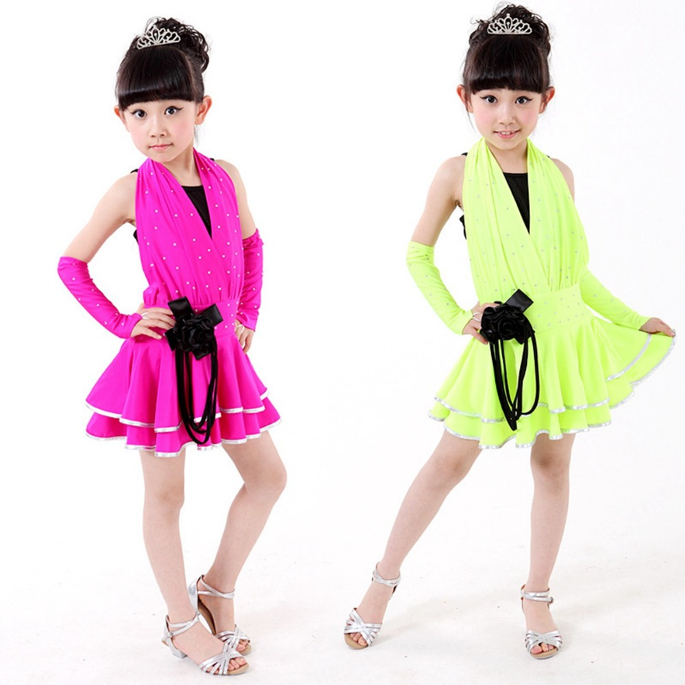 Fashion Elegant  Girls Kids Children Performance Stage Sleeveless Backless Dancewear Ballroom Latin Salsa Dance Tutu Dress S3009 3colors 100 160cm height kids child girls tassel dress ballroom latin salsa fashion dancewear dance costume dresses gifts