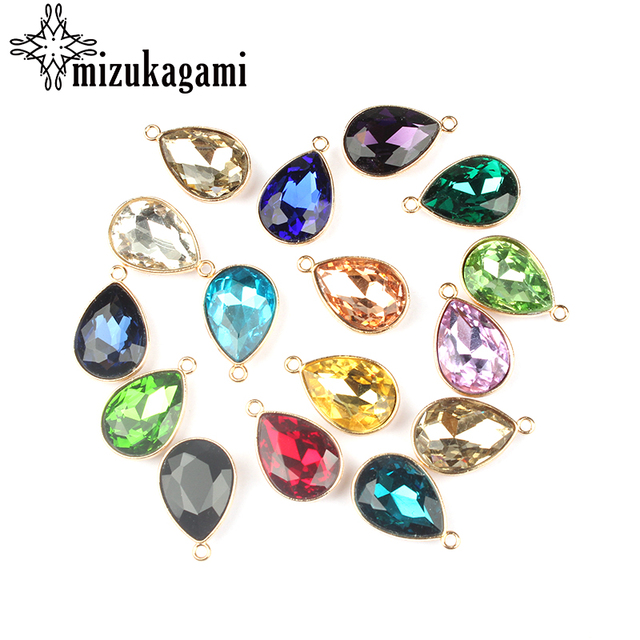 2017 Gold Alloy Colorful Crystal Water Drop Charms 12pcs/lot 23*15MM DIY Necklac