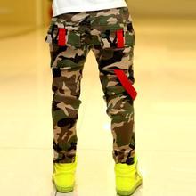 Fashion Teens Jeans For Boy Camouflage Baby Boys Jeans Pants Cotton Children's Elastic Waist Military Uniform Style Long Pant