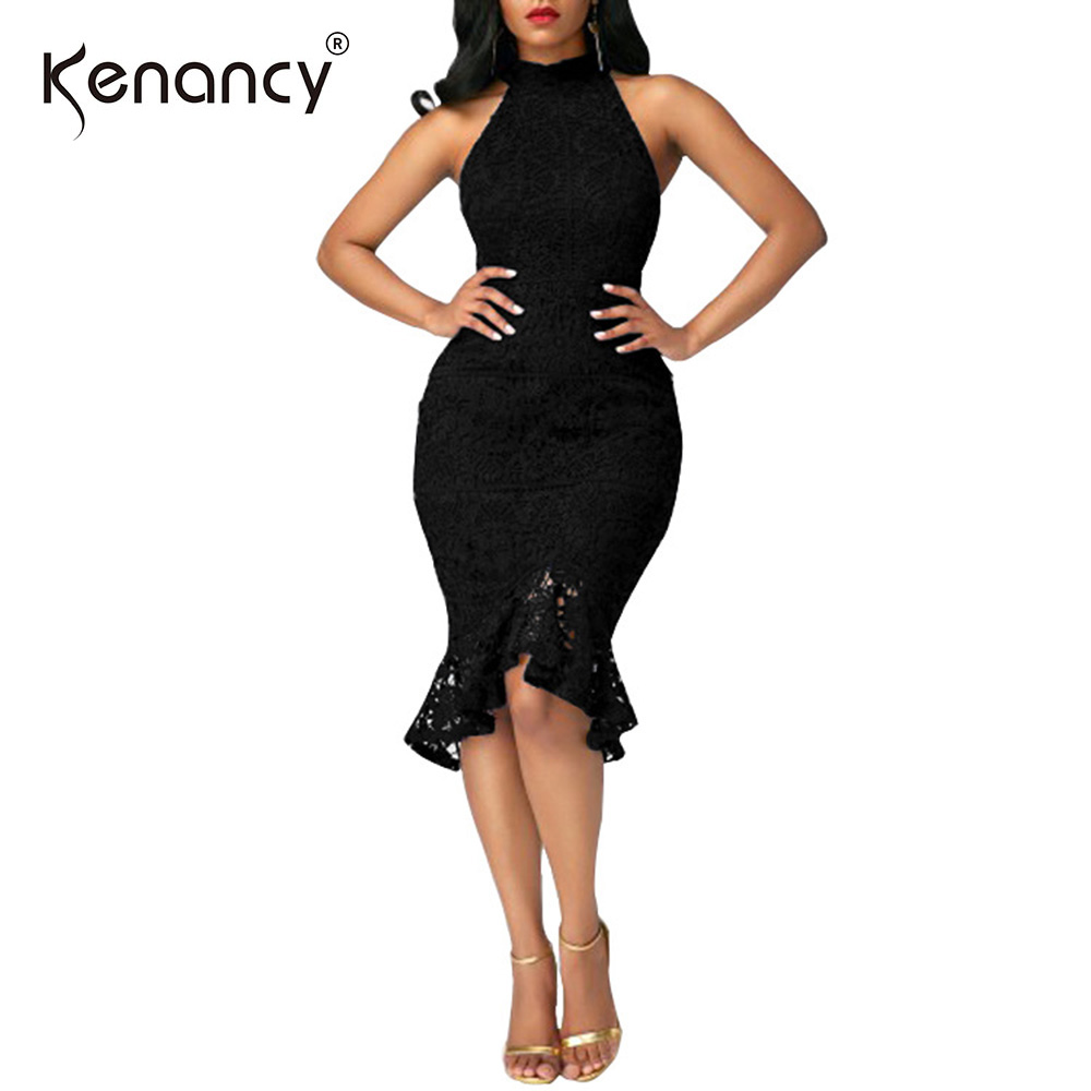 Kenancy Sexy Hollow Out Lace Sleeveless Halter Mermaid Hem Dress Women  Lined Slim Package Hip Party d3e1d6992734