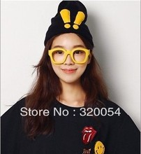 Free Shipping 1Pcs 2013 New Hot Selling Exclamation Mark Knitted Caps  Autumn And Winter Warm And Lovely Rabbit Ears Black Hat