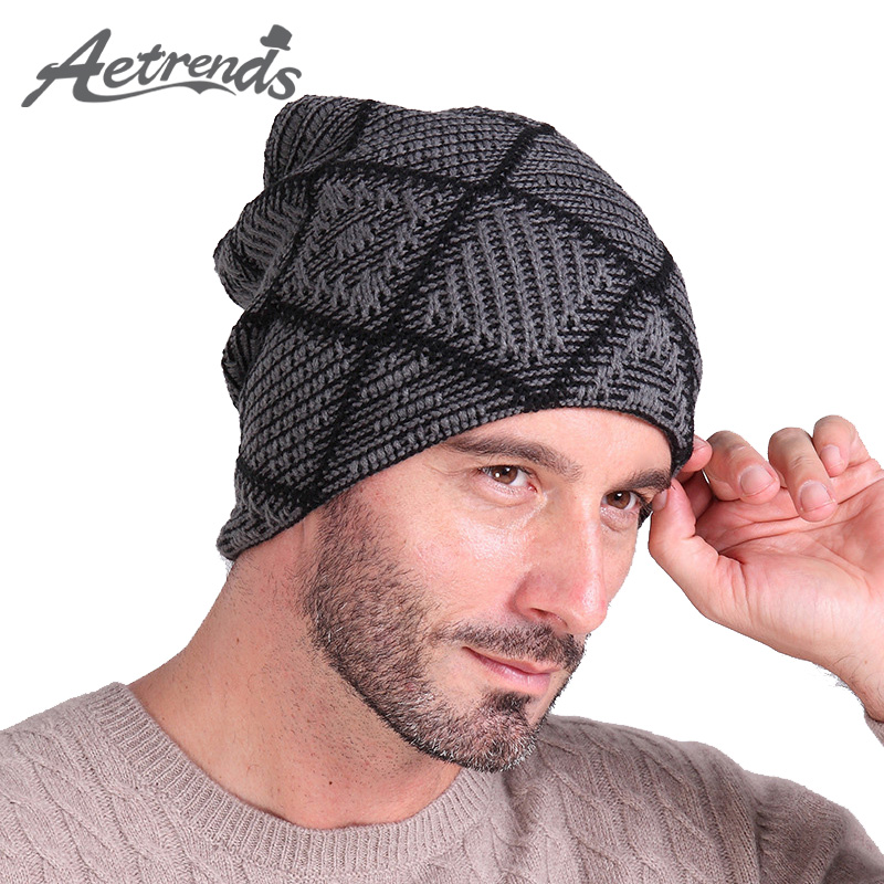 [AETRENDS] Winter Hats Men Hat   Beanies     Skullies   with Velvet Inside Z-2019