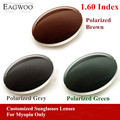 Eagwo 1.60 Index Prescription Sunglasses Polarized Lenses Grey Brown Green Sunglasses Lens for Myopia Anti UV Anti Glare 160