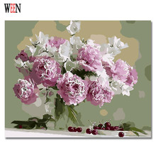 WEEN Pink Flower Pictures Painting By Numbers DIY HandPainted Wall Oil Canvas Art Coloring by number For Living Room