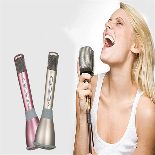 K068 Wireless bluetooth Stereo Protable Mini Microphone Karaoke Singing Record Player for iphone7 Microphones Mic Speakers