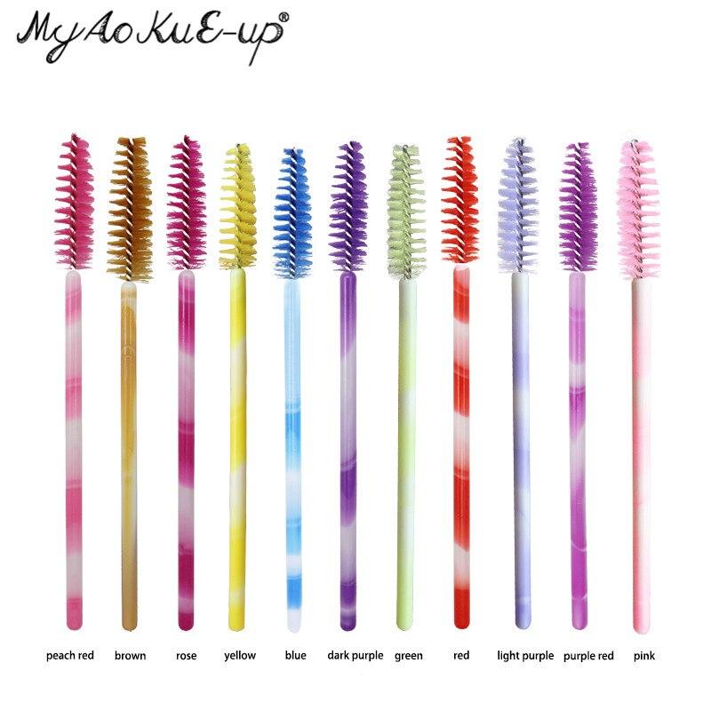 Make-up 200 stücke Wimpern Pinsel Für wimpern verlängerung Mascara Wands Applikator Bunte Kosmetik Pinsel Einweg Make-Up pinsel