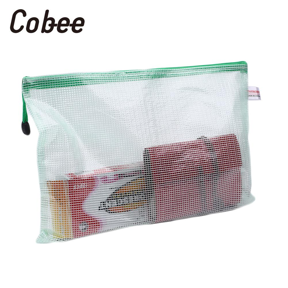 PVC A4 Grid Zipper File Document Holder Pouch Bill Storage Bag Organizer Soft
