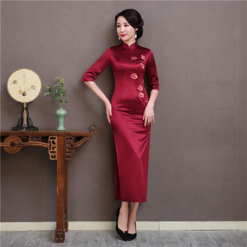Soie A B Taille burgundy Qipao Demi Femmes 100 Haute Fleur De C Longue Formelle Robes Robe Qualité 3xl D'affaires Broderie Burgundy Douille burgundy Royal S 6wBRq